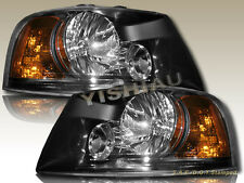 03-06 Ford Expedition Euro Clear Lens w/ Black Housing Headlights Pair