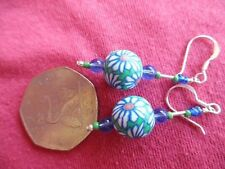 BLUE & GREEN FLORAL POLYMER BEAD EARRINGS, SILVER (925) HOOK FITTING