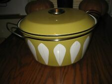 CATHRINE HOLM HARVEST GOLD ENAMEL LOTUS LEAF PATTERN 4QT CASSEROLE DISH NORWAY