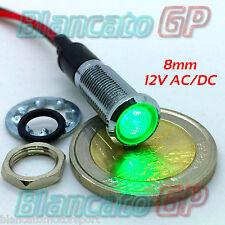 SPIA LED VERDE 12V DC METALLO FLAT 8mm IP67 auto moto camper nautica segnalatore