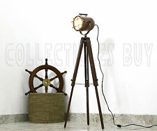Designer Vintage Antique Copper Tripod Floor Lamp Studio Searchlight Home Office