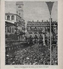 Stampa antica VERONA P.za ERBE Inaugurazione Colonna 1886 Old antique print