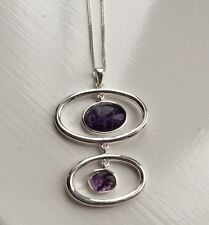 Rare Derbyshire Blue John Vintage Style Sterling Silver  Pendant And Chain J186