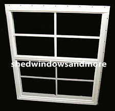 Shed Window 21x27 White J-Chan Safety Glass Playhouse Treehouse Chicken Coop