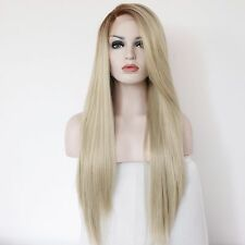 Women Dark Root Long Straight Lace Front Blonde Wig Cap Full Synthetic Hair 22''