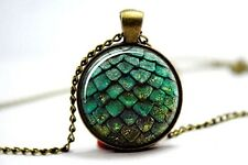 Glass Dome Cabochon Pendant Chain NECKLACE Gothic/ Steampunk Dragon Egg: Green
