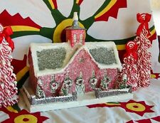 Vintage Style Red Christmas Barn Stable House Lighted Putz Paper Mache