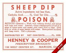 VINTAGE DRUG STORE SHEEP DIP POISON & ANTIDOTE WARNING SIGN REAL CANVAS PRINT