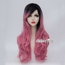Lolita Women Black Mixed Pink Curly Hair 70CM Long Heat Resistant Cosplay Wig