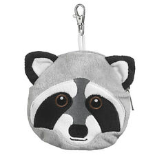 New Raccoon Zippered Pouch Coin Purse Stuffed Animal Plush Toy Backpack Hanger