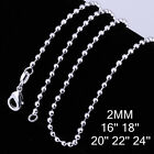 925Sterling Silver 2MM Beads Chain Round Ball Men Women Necklace 16