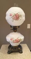 Fenton GWTW Puffy Rose Hurricane Banquet Parlor 3 Way Lamp Floral Milk Glass