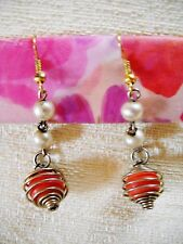 RED BEAD IN GOLD TONE SPIRAL CAGE W/ FAUX PEARL CHAIN: DROP DANGLE HOOKS