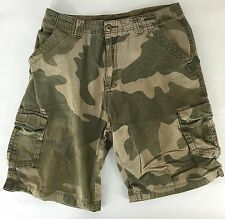 Camo Military Army Distressed Grunge Cotton Cargo Shorts Burnside Mens Size 28