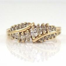 10K Yellow Gold Natural Diamond Cluster Band Ring Size 9.25 QR1