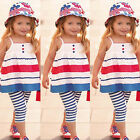2Pcs Baby Toddler Girls Sleeveless Top Shirt Dress+Pants Set Outfit Clothes 2-5Y