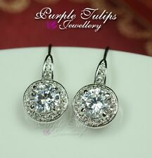 18K White Gold Plated Round Cut  Dangle Earrings W/ Genuine Swarovski Crystal