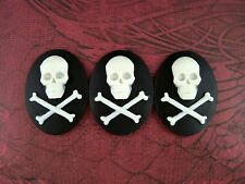 40x30mm Skull And Crossbones Cameos (3) - L663 Jewelry Finding