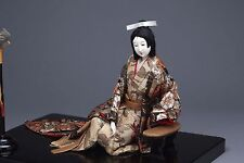 Antique Japanese Gofun Sitting Doll w/Large Lacquered Board