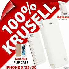 New Krusell Malmo Flip Case for Apple iPhone 5S, 5C, 5 White Cover Wallet Folio