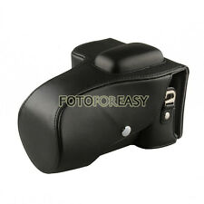 Black Leather Camera Case Bag For Nikon D5100 D5200 DSLR 18-55mm / 18-105mm lens