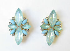 Turquoise Blue Silver Faux Opal Earrings Stud Art Deco Vintage 1920s Drop 1127