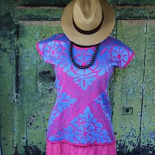 Hand Embroidered Turquoise & Hot Pink Huipil Jalapa Oaxaca Mexico Hippie Cowgirl
