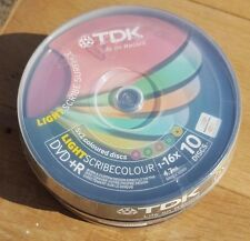TDK Lightscribe Colour - DVD+R Colour 16 Speed 4.7GB 1 Cake Pack of 10 Discs