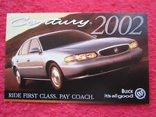 2002 BUICK CENTURY FACTORY FEATURES / INFO CARD