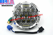 """7"""" Round 75W LED Headlight Replacement with DRL Low/High Beam Chrome (Pack of 1)"""