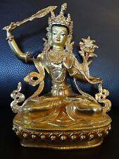 Buddha Statue Manjushri  Nepal Tibet 21,5cm Kupfer vergoldet Copper gold plated