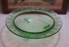 "Vintage US Glass Green Depression Glass Rose & Thorn 3 Toed Footed 11"" Bowl"