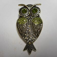 BEAUTIFUL OLD ((( (OWL))) PIN / BROOCH GOLD TONE 3 INCHES HIGH CRYSTAL