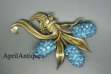 """Vintage """"Sterling Azul Pedrería Jacinto Flor Grande Broche Pin"""