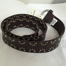 NEW Aeropostale Belt M Distressed Leather DK Brown Floral Cut Out BOHO Gypsy NWT
