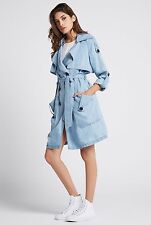 NWT BCBGENERATION SzXS CHAMBRAY DOUBLE BREASTED TRENCH COAT IN LIGHT BLUE $178.