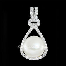Gorgeous Knot 10mm Cream White Round Pearl 925 .925 Sterling Silver Pendant