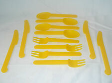 NEW 12 PIECE PLASTIC CUTLERY SET 4 FORKS KNIVES SPOONS PICNIC CAMPING UBL YELLOW