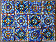 "24 MEXICAN TALAVERA POTTERY 2x2"" Tiles Clay Hand Painted"