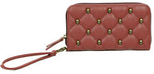 Rock Rebel Diamond Quilted Skull Studded Wallet in Marsala and Bronze