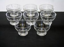 Set of 8 Etched Laurel Leaf Crystal Glass 6 Oz. Footed Sherbet Bowls Cups