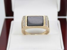 Diamond and Onyx Ring 9ct Gold Stunning Gents 375 Size U O22