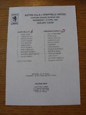 13/04/1994 Aston Villa Reserves v Sheffield United Reserves  (Single Sheet, Scor