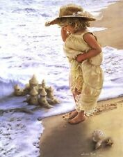 Sandra Kuck SERENITY - 20x16 SOLD OUT art print, little girl sandcastle at beach