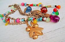 ART DECO GLASS FRUIT AND METAL COLORFUL DANGLE STRANDS NECKLACE CHUNKY VINTAGE