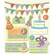 K&COMPANY STICKER MEDLEY FIRST 1ST BIRTHDAY PARTY DIMENSIONAL SCRAPBOOK STICKERS