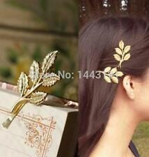 2 Gold Olive Leaf Hair Clips Grecian Bridal Leaves Boho Beach Wedding Grips
