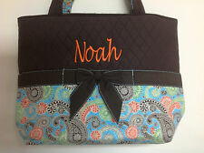 Personalized Quilted Flower Paisley Print 3 Piece Diaper Bag Tote