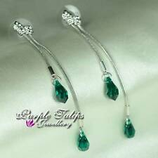 18K White Gold Plated Emerald Double Chain Stud Earrings w/ Swarovski Crystals