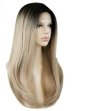 Custom Natural Light Ash Blonde Two Tone Highlight Dark Root LaceFront Ombre Wig
